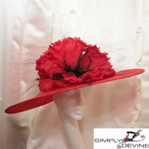 """WOW!"" Red Poppy Couture Hat NR349"